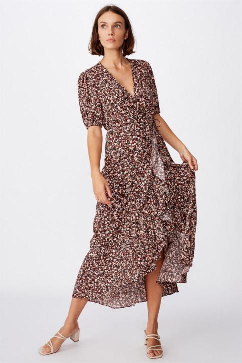 Đầm Maxi Nữ - Woven Ri Ruffle Wrap Ma