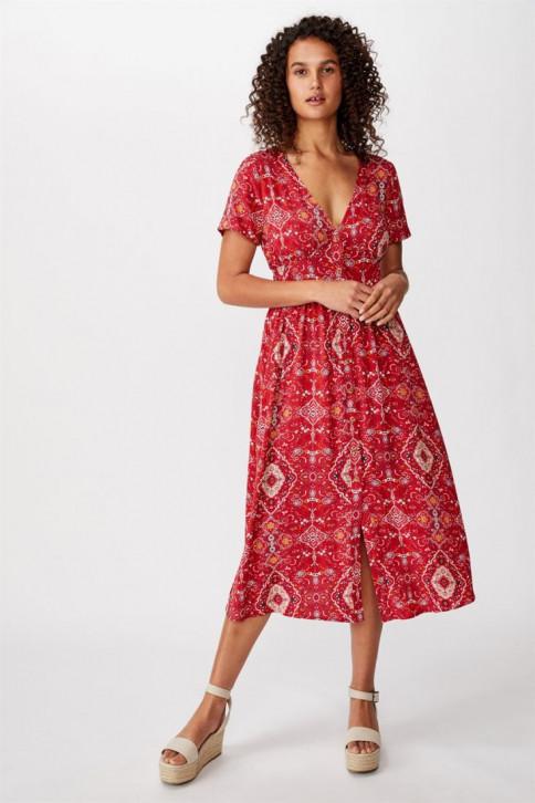 Đầm Midi Nữ - Woven Clover Short Sleeve Midi